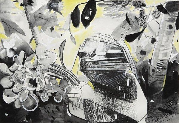 104:  DANA  SCHUTZ  b. 1976  Untitled, 2003  Charcoal,