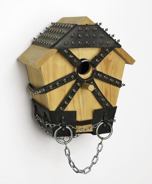 113:  WIM  DELVOYE  b. 1965  Birdhouse #13, 1997  Wood,