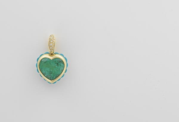 1:        An Emerald, Diamond and Turquoise Pendant  Ce
