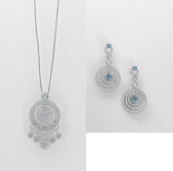 2:        A Suite of Diamond and Aquamarine Jewelry  Co
