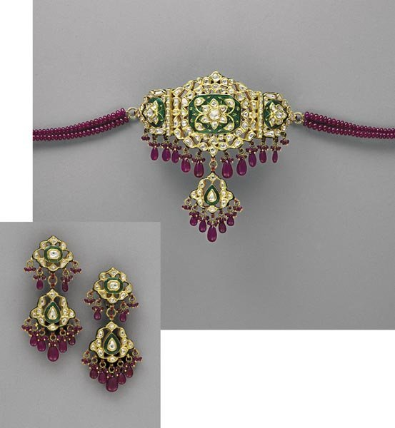 5:        A Modern Indian Diamond Ruby and Enamel Neckl