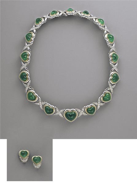 9:        A Suite of Emerald and Diamond Jewelry  Desig