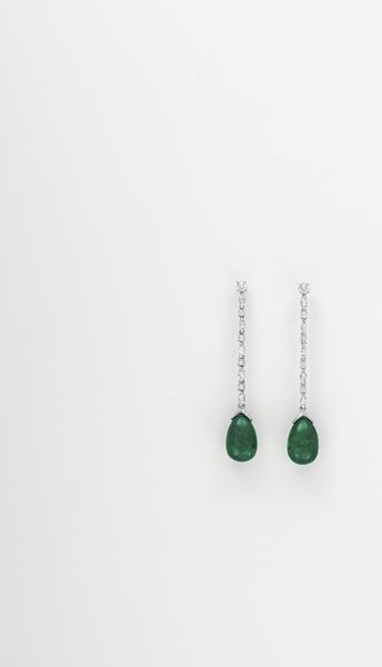13:        A Pair of Diamond and Emerald Earrings  Each