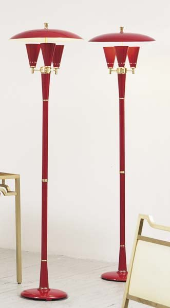 2014: UNKNOWN DESIGNER Pair of floor lamps, 1970s Paint