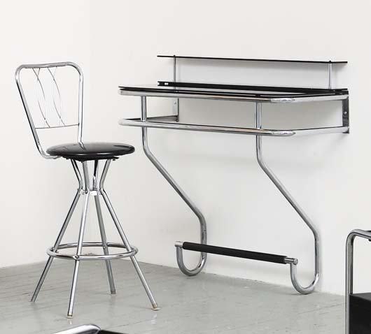 2018: UNKNOWN DESIGNER Vanity and stool, 1950s Vanity: