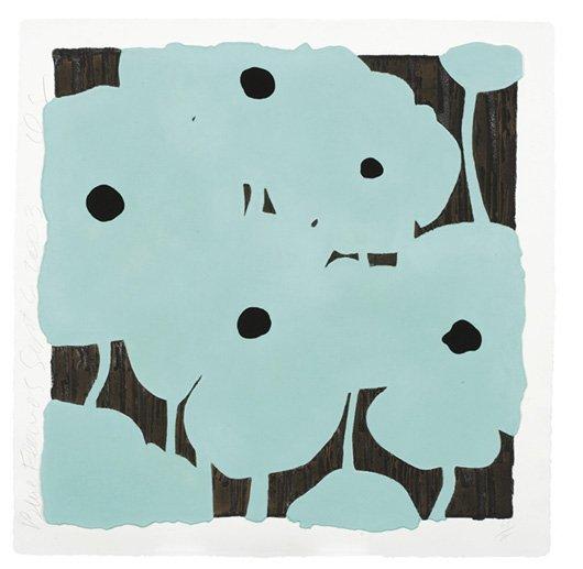 1016: DONALD SULTAN, b. 1951 Blue Flowers, 2003 Mixogra