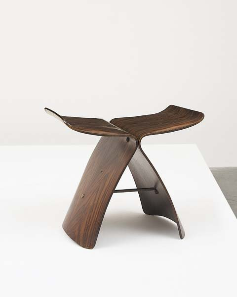 "7: SORI YANAGI, b. 1915 Early ""Butterfly"" stool, 1960s"