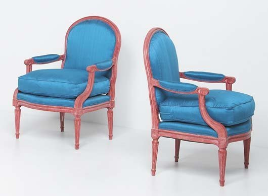 4: MAISON JANSEN Pair of armchairs, 1970s Painted wood,