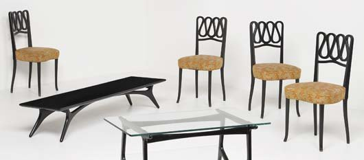13: GIO PONTI, 1891-1979 Set of four dining chairs, ca.