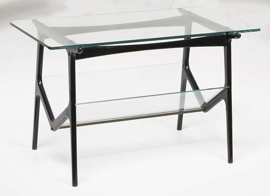 16: CESARE LACCA Coffee table, 1950s Painted wood, glas