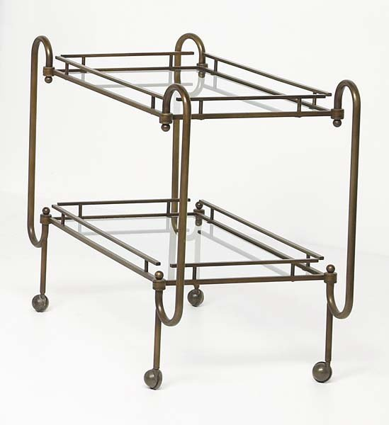 20: UNKNOWN DESIGNER Drinks trolley, 1970s Brass, glass