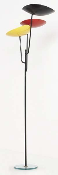 22: STILNOVO Floor lamp, 1950s Painted metal, glass, br