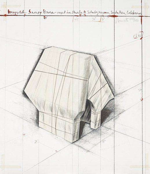 CHRISTO, b. 1935 Wrapped Snoopy House, 2004 Litho