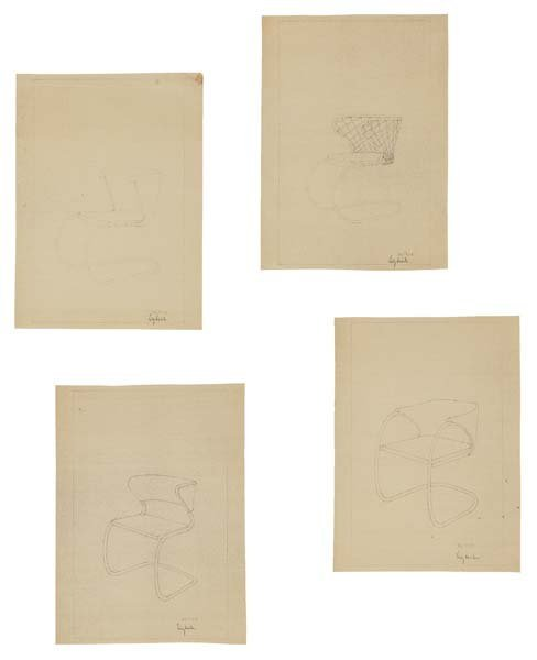 6: LILLY REICH, 1885-1947  Four chair studies for Thone