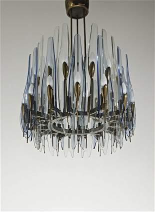 98: MAX INGRAND, Rare 'Dahlia' chandelier, 1950s