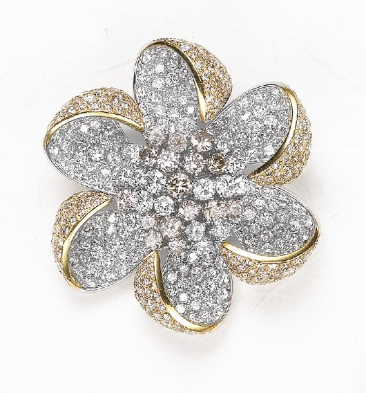 15: A Colored Diamond and Diamond Flower Brooch