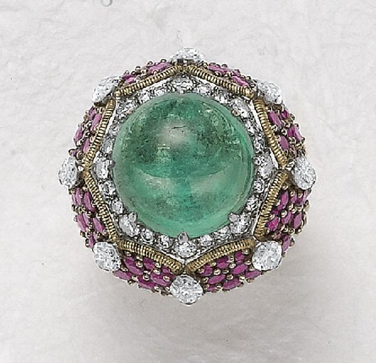 18: MARCHAK, An Emerald, Ruby and Diamond Ring