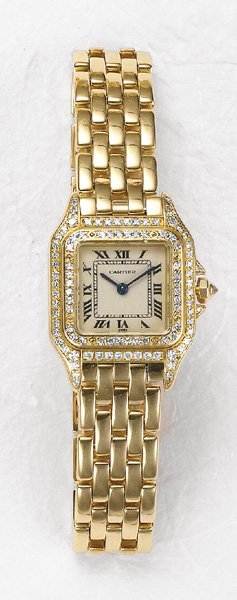 26: CARTIER, A Gold and Diamond 'Panthère Lady's Wristw