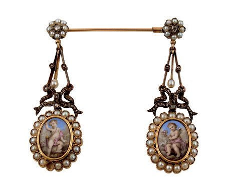 6:  A PAIR OF 19TH CENTURY SWISS ENAMEL, PEARL AND DIAM