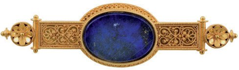 7:  A LATE 19TH CENTURY GOLD AND LAPIS LAZULI BROOCH, C