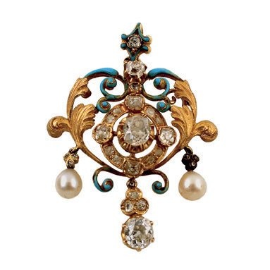 11:  A LATE 19TH CENTURY DIAMOND, PEARL AND ENAMEL PEND