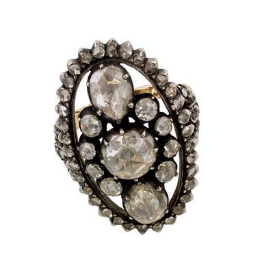 13:   A 19TH CENTURY ROSE CUT DIAMOND CLUSTER RING, THE