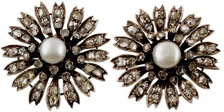 17:  A PAIR OF 19TH CENTURY PEARL AND DIAMOND EARCLIPS,