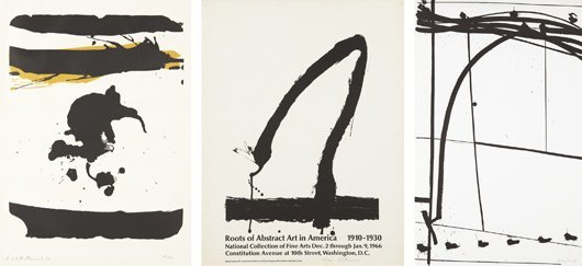 18: ROBERT MOTHERWELL, Three works: In Black with Yello