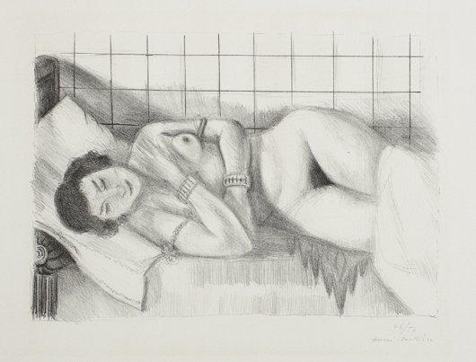 10: HENRI MATISSE, Figure endormie, châle sur les Jambe