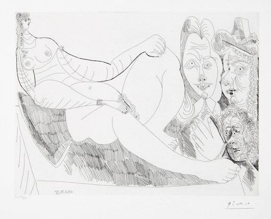 13: PABLO PICASSO, Femme au lit avec Visiteurs en Costu