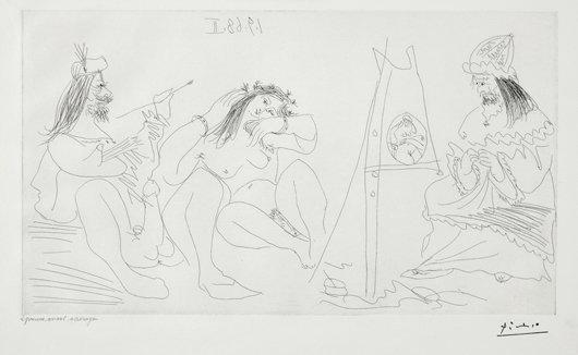 14: PABLO PICASSO, Raphael et la Fornarina. VII: Le Pap