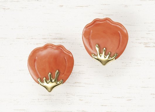 7: TIFFANY & CO., A Pair of Coral and Gold Earclips