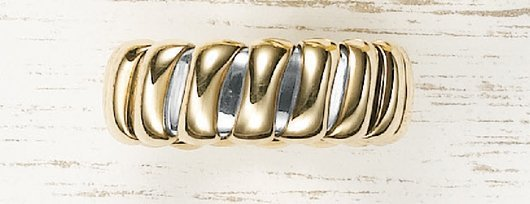 9: BULGARI, A Yellow Gold and Steel 'Tubogas' Ring