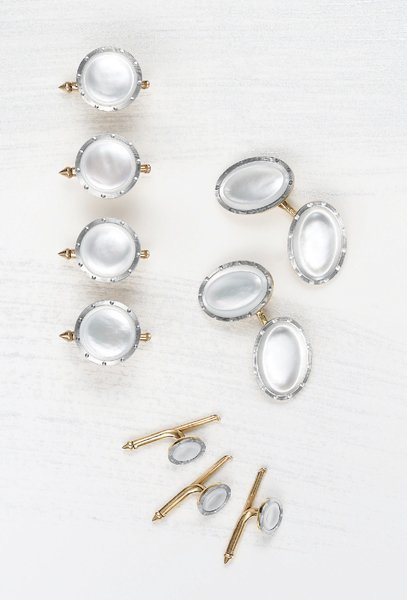 14: , An Antique Mother-of-Pearl and Gold Dress Set, 19