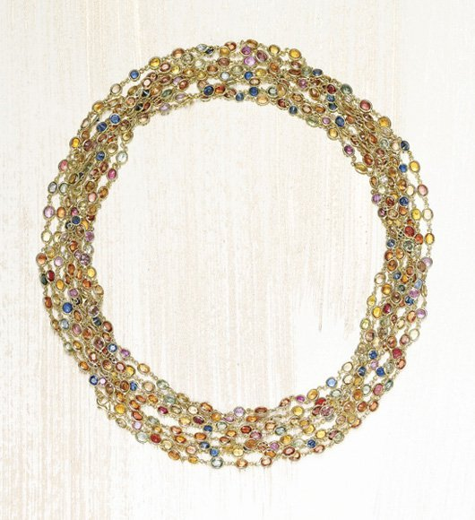 16: , A Pair of Multi-Colored Sapphire Long Chains