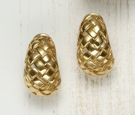 18: TIFFANY & CO., A Pair of Gold 'Vannerie' Ear Clips