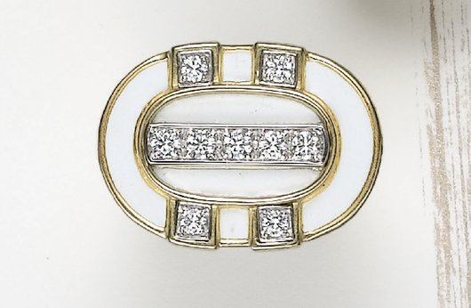 21: DAVID WEBB, A White Enamel, Diamond and Gold Ring