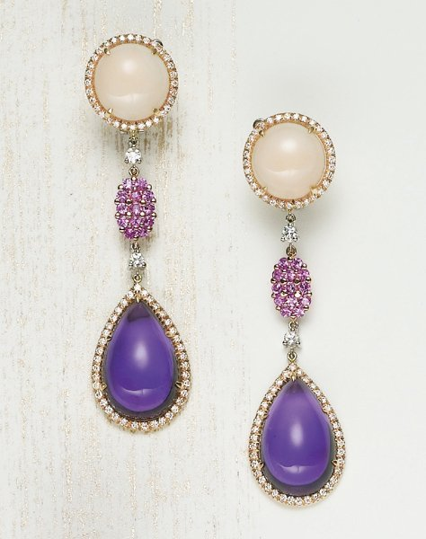 23: , A Pair of Coral, Pink Sapphire, Diamond, and Amet