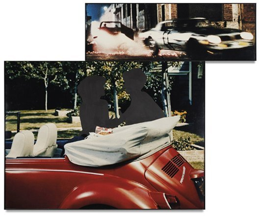 13: JOHN BALDESSARI, Two Cars, One Red, in Different En