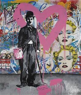437: MR. BRAINWASH, Charlie Chaplin Pink, not dated