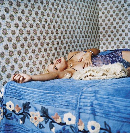 21: BETTINA RHEIMS, Madonna Blue Laying on a Blue Bed,