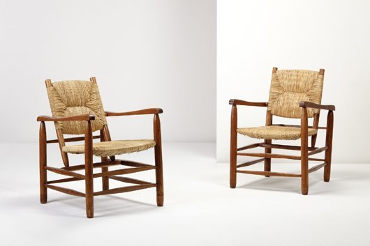 17: CHARLOTTE PERRIAND, Pair of armchairs, model no. 21