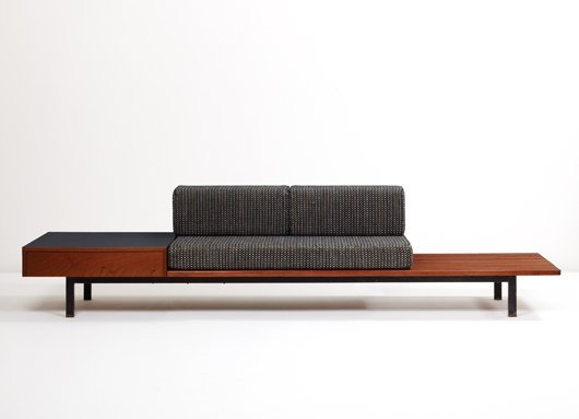 24: CHARLOTTE PERRIAND, Bench with drawer and side tabl