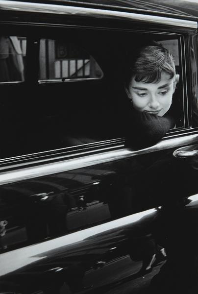 "9: DENNIS STOCK, Audrey Hepburn while filming ""Sabrina"""