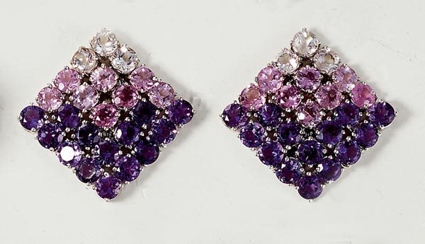 13: A PAIR OF AMETHYST AND TOURMALINE EARCLIPS - GAVELL