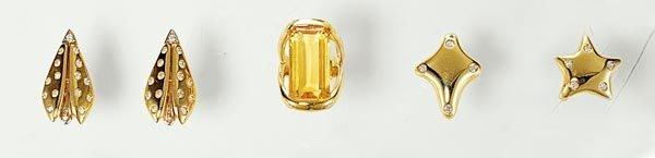 23: A PAIR OF DIAMOND-SET EARCLIPS AND TWO DIAMOND-SET