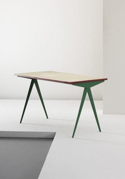 21: JEAN PROUVÉ, 'Compas' table, model no. 512, c. 1953