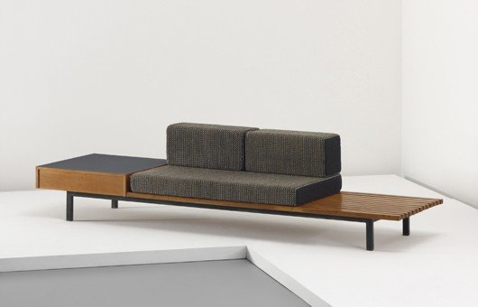 23: CHARLOTTE PERRIAND, Bench with drawer and side tabl