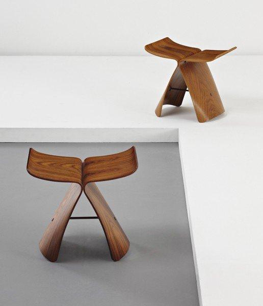 24: SORI YANAGI, Two  'Butterfly' stools, designed 1956