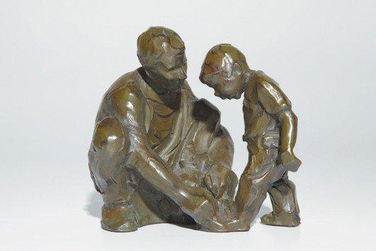 12: Artist Unknown (Becker?) [Man Teaching Boy To Tie H